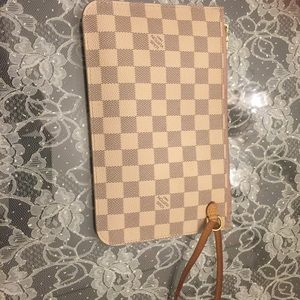 Authentic LV damier azur neverfull wristlet